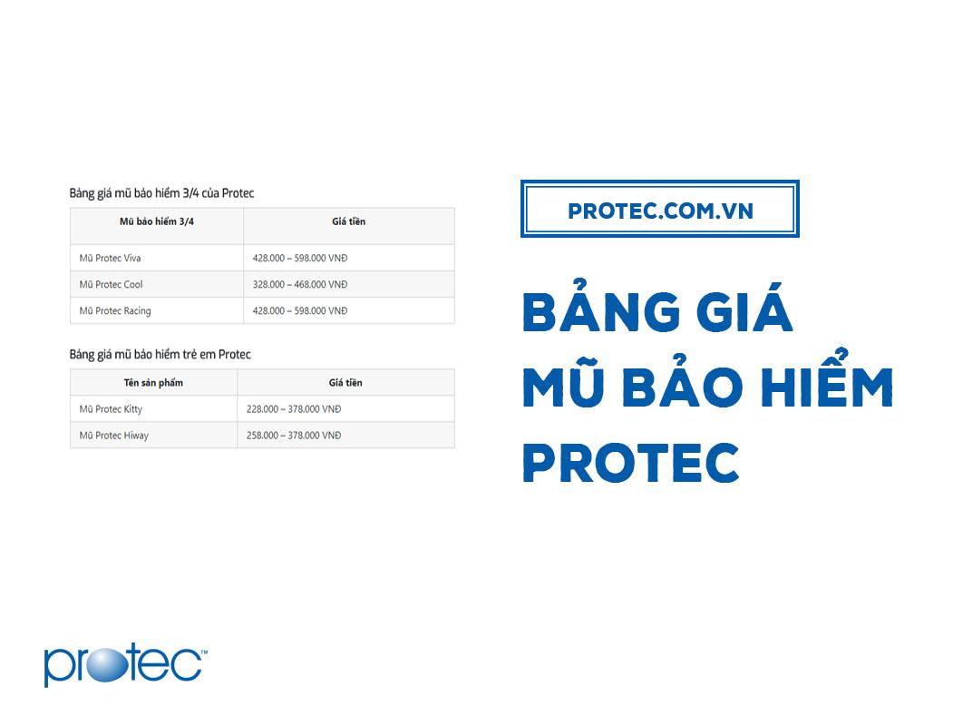 Bảng giá mũ bảo hiểm Protec