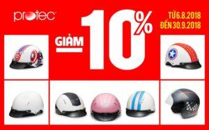Nhân dịp sinh nhật Công ty giảm 10% cho khách hàng mua mũ online trên trang Fanpage/ Website của Protec hoặc mua hàng qua điện thoại, giao hàng tận nơi.