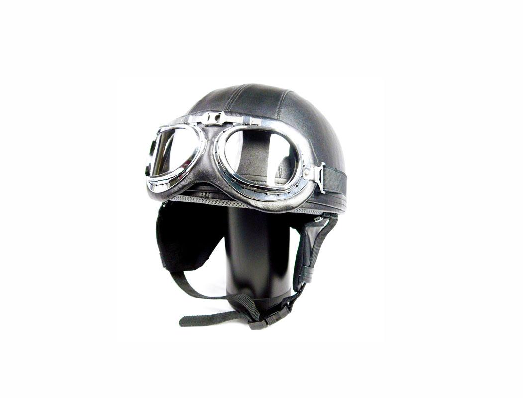 Mũ bảo hiểm nửa đầu có kính phi công dạng vintage