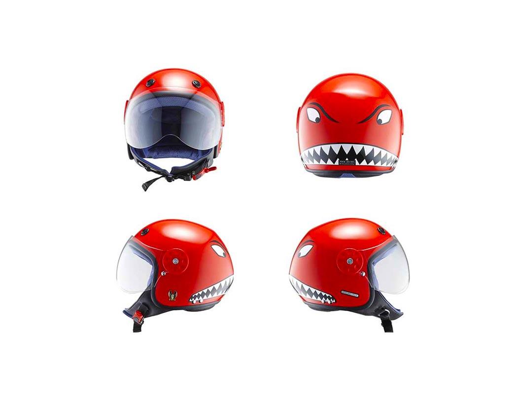 Chiếc mũ bảo hiểm 3/4 trẻ em với hình cá mập độc đáo