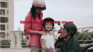 "Safety Delivered PSA alerts parents in Vietnam with the message, ""Love your child, provide a helmet."""