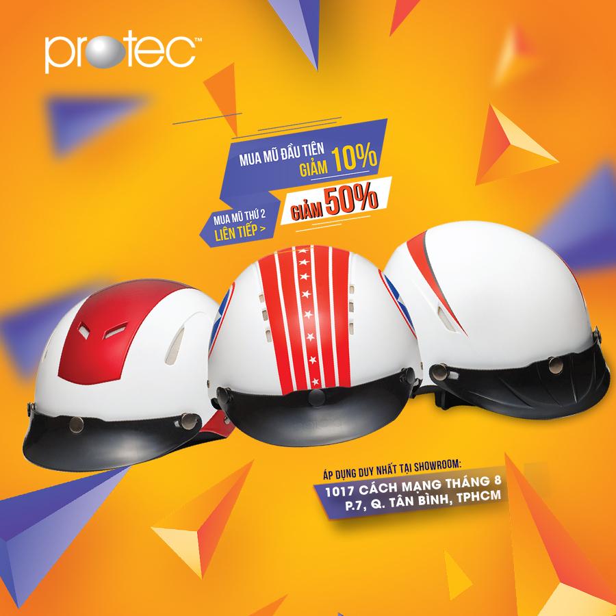 Mũ bảo hiểm Protec khuyến mãi tại Showroom Cách Mạng Tháng 8